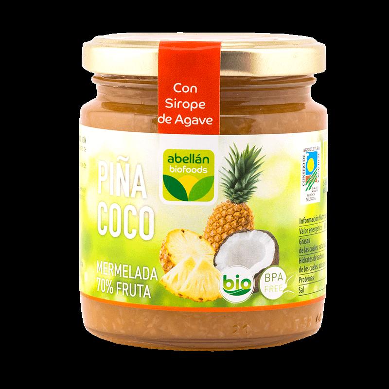 Mermelada de piña y coco con sirope de agave